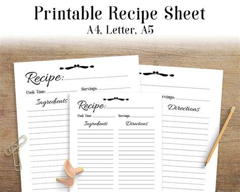 free digital receipt book template recipe sheet printable recipe page template blank recipe