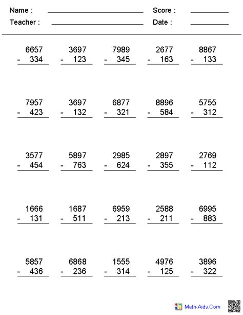 digits vertical subtraction with regrouping 2 3 or 4 digit no regrouping vertical format subtraction
