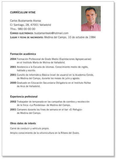 Exle Of A Written Curriculum Vitae by Modelos De Curriculum Prontos Trabajo Modelos De