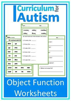 object function worksheets autism special education esl tpt