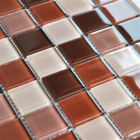 Crystal Glass Mosaic Tile Brown Kitchen Backsplash Designs