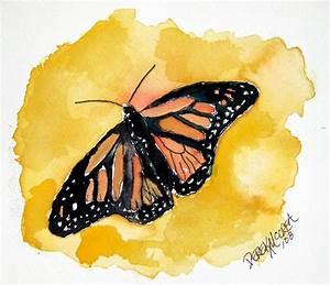 orange monarch butterfly watercolor painting | orange ...
