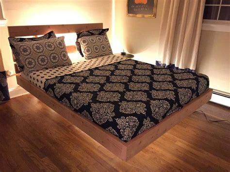 oak wood king size floating platform bed  headboard