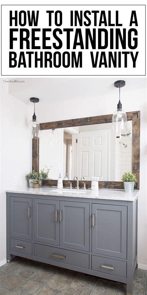 install  freestanding bathroom vanity small