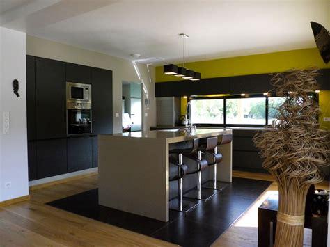 cuisine ouverte avec ilot table une cuisine ouverte verdoyante inspiration cuisine