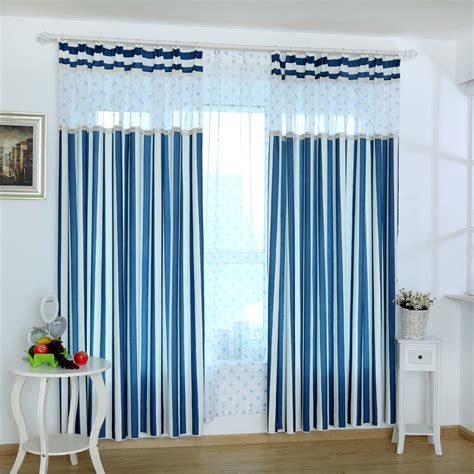wholesale blue and white striped curtains clearance