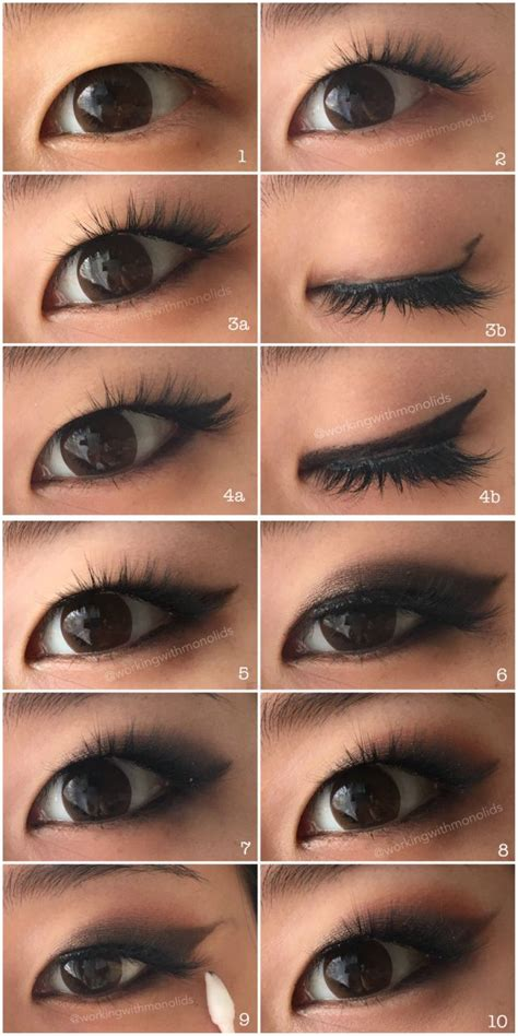 monolid   tutorial smoked  winged eyeshadow