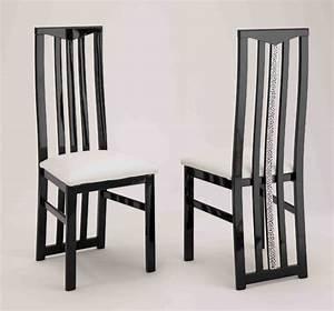 chaise de sejour cromo laque bicolore noir blanc With meuble salle À manger avec chaise design noir