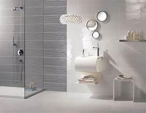 Carrelage mural gris design salle de bains flavia espace for Salle de bain design avec décoration dinosaure
