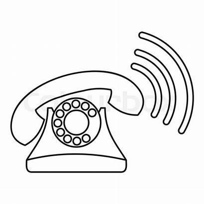 Outline Phone Ringing Icon Retro Telefoon Pictogram