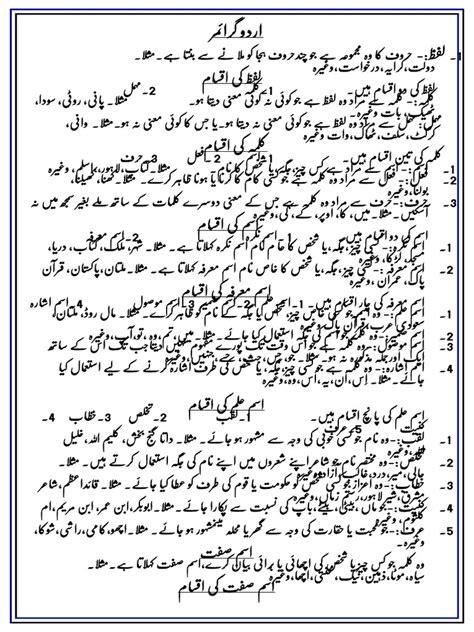urdu grammar notes