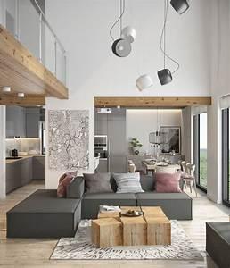 Deco Mur Interieur Moderne : d co salon du gris du bois et des notes de rose dans un ~ Teatrodelosmanantiales.com Idées de Décoration