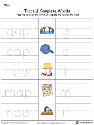 write in color ap word family trace and write in color