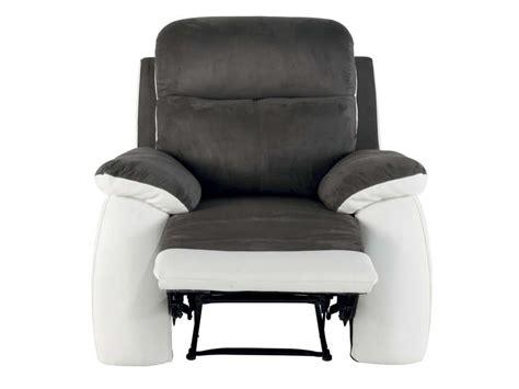fauteuil relaxation white coloris gris blanc en tissu pu
