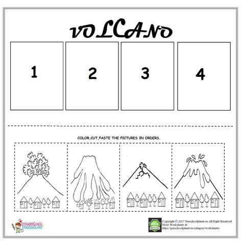volcano sequencing worksheet for