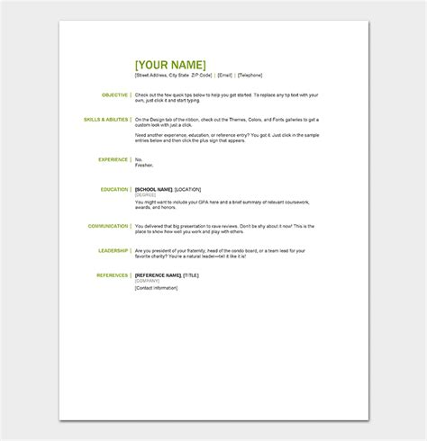 resume template  freshers  samples  word