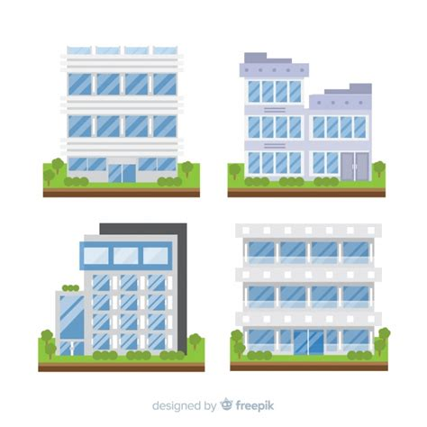 Collection of different types of office buildings Free