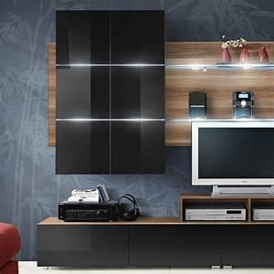 Meuble Design Tv Mural : meuble tv mural design eclipse 260cm noir brun ~ Teatrodelosmanantiales.com Idées de Décoration