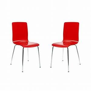 Chaise Cuisine Design : lot de 2 chaises design cuisine rouges nelly achat vente chaise cdiscount ~ Teatrodelosmanantiales.com Idées de Décoration