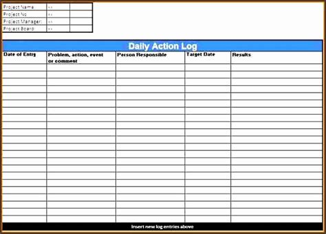 daily work log template downloadable