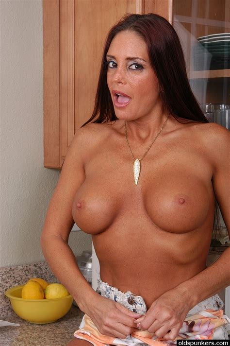 Busty Mature Woman Cheyenne Stripping Naked In Kitchen And