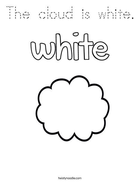 C Is For Cloud Coloring Page Twisty Noodle The Cloud Is White Coloring Page Tracing Twisty Noodle