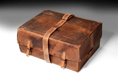 Antique Leather Writing Box By Leuchars
