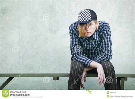 Teenage Boy On A Bench Royalty Free Stock Photos