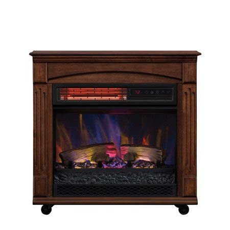 space heater fireplace chimneyfree rolling mantel infrared quartz electric