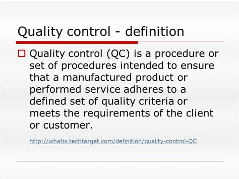 Quality Control  History And Recent Development Ppt