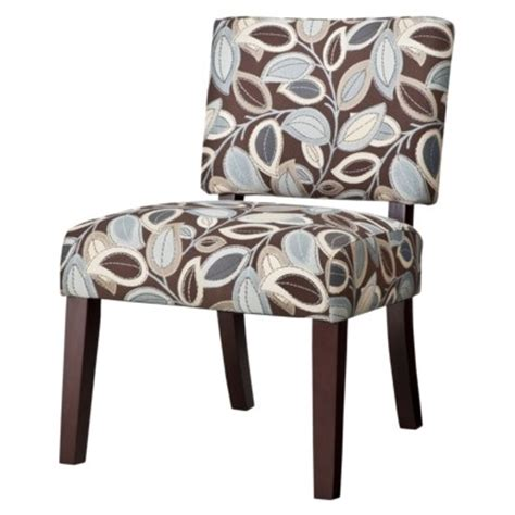 vale open back slipper accent chair leaves brown blue