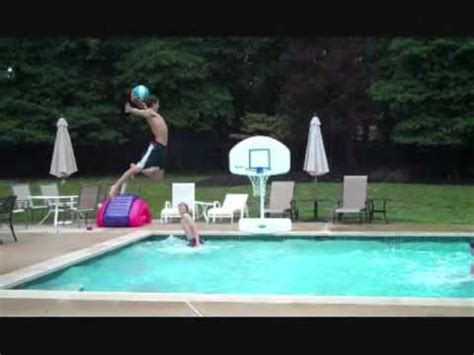 crazy pool basketball trick shot with 14 people insane