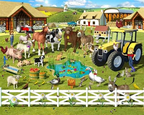 Farmyard Animal Wallpaper - farmyard room farm yard wallpaper mural grandkids
