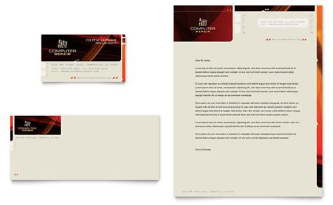 computer repair business card letterhead template design