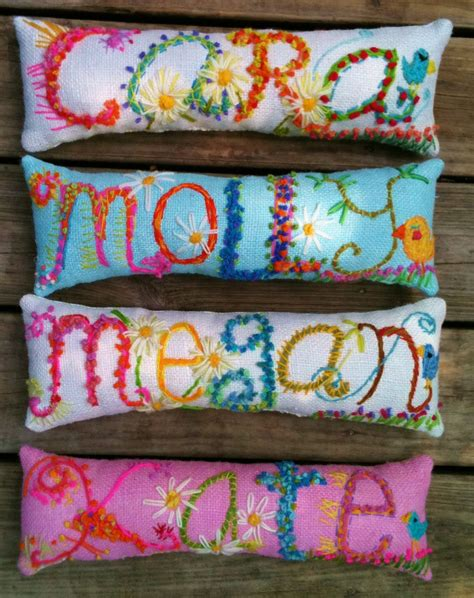 freehand embroidered bohemian letters name pillow personalized
