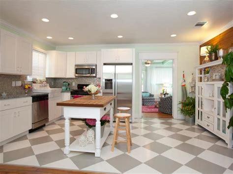 cottage kitchen  gray  white checkered floor hgtv