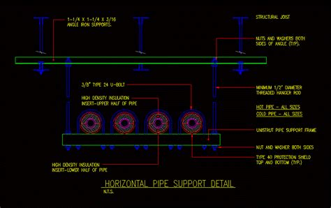 horizontal pipe support detail dwg detail  autocad