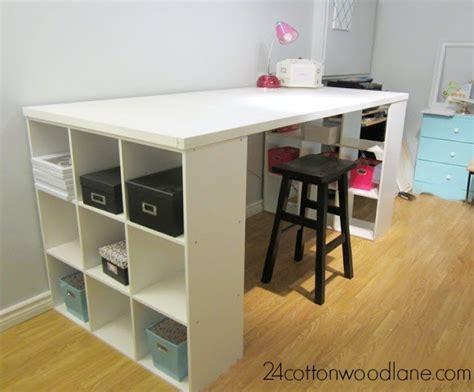 make a desk out of bookshelves diy craft room table