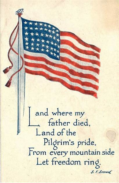Patriotic Postcards Cards America Freedom Ring Let