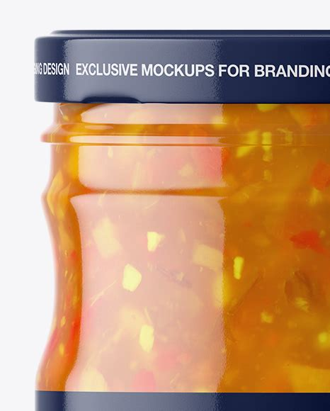 Mockup of red jam or sauce jar with custom shape label in clean studio scene. Clear Glass Jar with Sweet & Sour Sauce Mockup in Jar ...