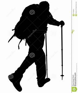 Silhouette Of A Mountaineer Stock Vector - Image: 41794870