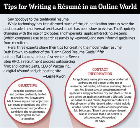 tip for writing a resume in an world