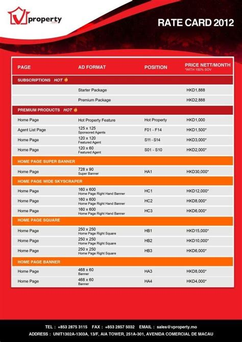 pack   rate card templates   click