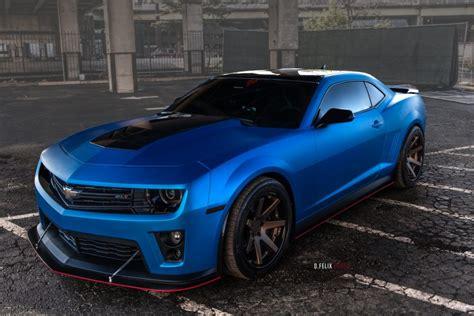 matte blue  chevy camaro zl  ferrada wheels rides