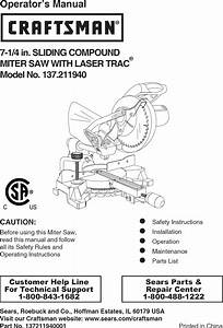 Craftsman 137211940 User Manual Compound Miter Saw Manuals