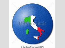 Stock Illustration of Italy map flag on abstract globe