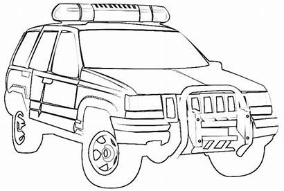 Coloring Police Jeep Truck Printable Cars Vehicles
