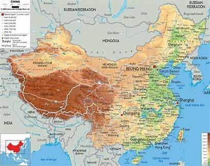China Physical Map Maps Asia Ezilon