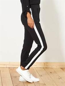 Pantalon Avec Bande Sur Le Coté : pantalon fluide avec bandes sur le c t femme noir blanc ~ Melissatoandfro.com Idées de Décoration