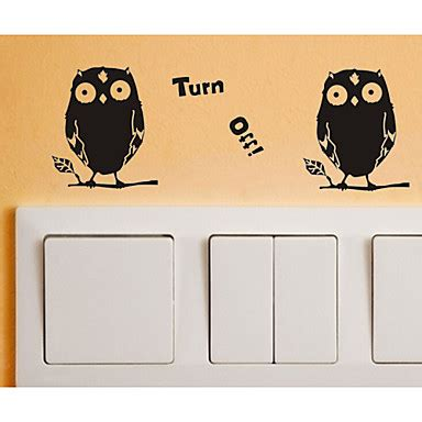 switch wall stickers wall decals owl turn off pvc switch